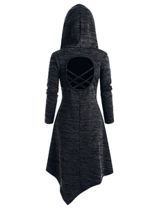 Lace Up Heathered Asymmetric Hooded Dress
