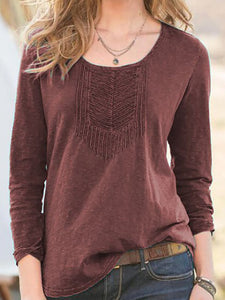 Solid Long Sleeve Pleated Vintage Women T-shirts Tops