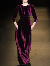 Load image into Gallery viewer, Solid Vintage Women Velvet Maxi Dresses