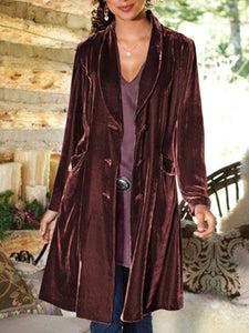 Women'S Velvet Shawl Collar Casual Coat