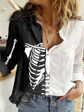 Load image into Gallery viewer, Women's Halloween Skeleton Bust Print Long Sleeve Shirt