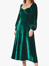 Load image into Gallery viewer, Women'S V-Neck Vintage Velvet Long Sleeve Dress