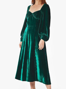 Women'S V-Neck Vintage Velvet Long Sleeve Dress