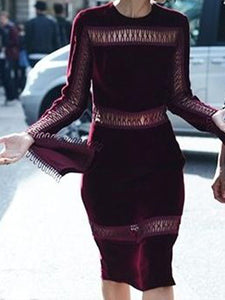 Women'S Retro Velvet Stitching Lace Long Sleeve Dress