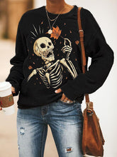 Load image into Gallery viewer, Casual crew neck Halloween skull print sweatshirt
