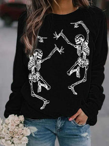 Halloween skeleton printed round neck casual sweatshirt