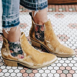Women'S Retro Velvet Stitching Ankle Boots