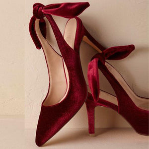 Women'S Vintage Velvet Bow High Heels