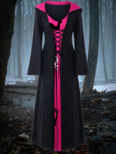 Load image into Gallery viewer, Women's Halloween Costume Retro Contrast Color Hooded Dress