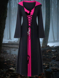Women's Halloween Costume Retro Contrast Color Hooded Dress