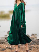 Load image into Gallery viewer, Women'S Retro Velvet Loose Long Sleeve Dress