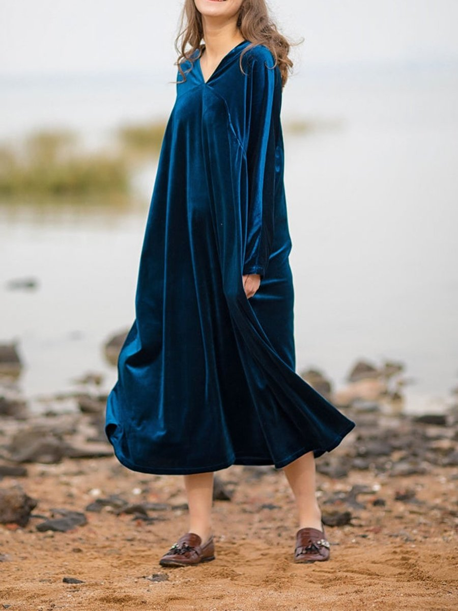 Women'S Retro Velvet Loose Long Sleeve Dress
