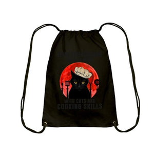 Halloween cat print canvas backpack