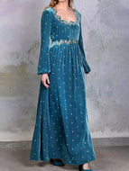 Women Vintage Velvet Printed Long Sleeve Dress