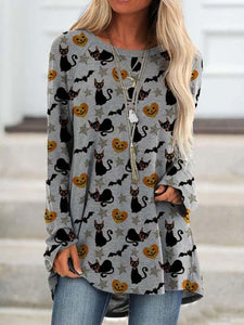 Women's Halloween Cute Cat Print Round Neck Casual Top