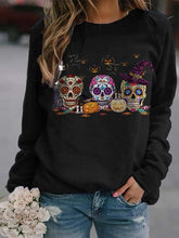 Load image into Gallery viewer, Women's Casual Round Neck Skull Print Sweatshirt