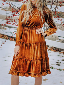 Women'S Retro Velvet Pleated Long Sleeve Dress