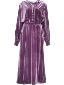 Women Vintage Velvet Button Long Sleeve Dress