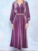 Load image into Gallery viewer, Women Vintage Velvet Button Long Sleeve Dress