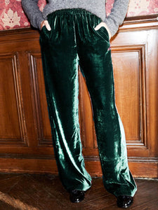 Women'S Retro Velvet Red Pocket Pants