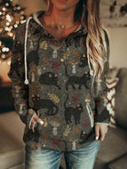 Ladies Black Cat Print Casual Hoodie
