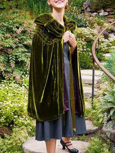 Women'S Vintage Velvet Drawstring Shawl Coat