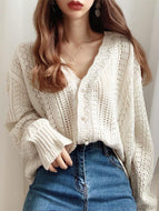 V-neck crochet sweater coat