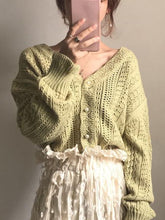 Load image into Gallery viewer, V-neck crochet sweater coat