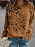 Women's Disney Hua Mulan printed Round neck casual Sweatshirt