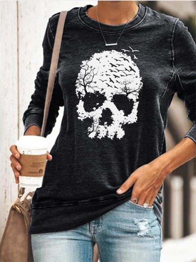 Women's Skull & Forest Print Sweatshirt
