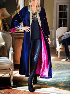 Women'S Retro Velvet Contrast Long-Sleeved Coat