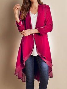 Women'S Retro Velvet Stitching Mesh Long-Sleeved Coat