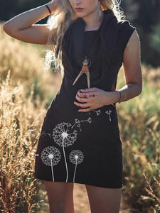 Women's Retro Dandelion Print Hooded Dress
