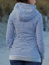 Load image into Gallery viewer, Striped Cotton Blend Hooded Casual Sweatshirt