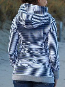 Striped Cotton Blend Hooded Casual Sweatshirt