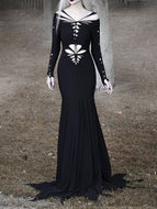 Women'S Halloween Retro Hollow Long Sleeve Dress
