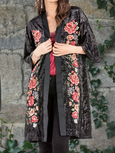 Women'S Retro Velvet Print Long Sleeve Coat