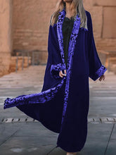 Load image into Gallery viewer, Women'S Retro Velvet Print Long Sleeve Coat