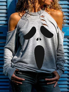 Halloween Cold-shoulder Hollow Printed T-Shirt