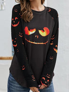 Halloween Long Sleeve Crew Neck Print Pullover Sweater