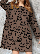 Load image into Gallery viewer, Women's Long Sleeve Halloween Printed Casual Dress