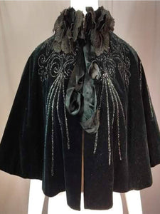 Women'S Retro Velvet Print Lace Stand Collar Shawl Coat