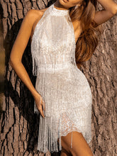 Load image into Gallery viewer, Women's high collar and backless silver sequins and tassels evening dress