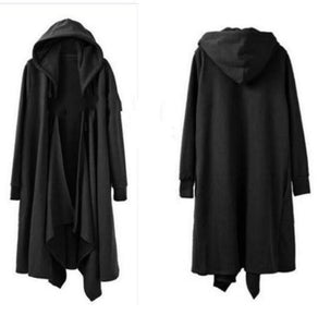 Women's solid hooded long sleeve Cape loose coat