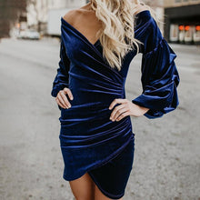 Load image into Gallery viewer, Sexy Deep V Pleated Tight Solid Color Dress
