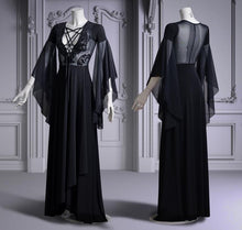 Load image into Gallery viewer, Black gothic maxi dress