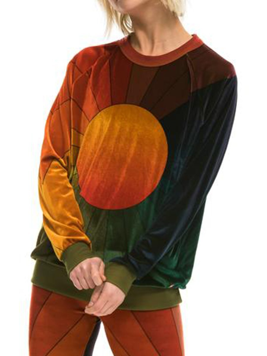 Women's Sun Rainbow Sunburst Velvet Sweatershirt
