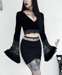 Gothic Style Sexy perspective open navel lace flared sleeve top