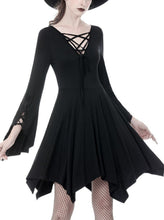 Load image into Gallery viewer, Gothic modol lace up chest midi dress DW345 - Gothlolibeauty
