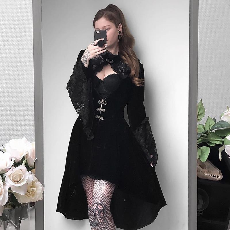 InsGoth Vintage Black Women Velet Dress Gothic Placed Elegant Hollow Out Dress Lace Patchwork Sexy Mini Female Party Dress - Slabiti